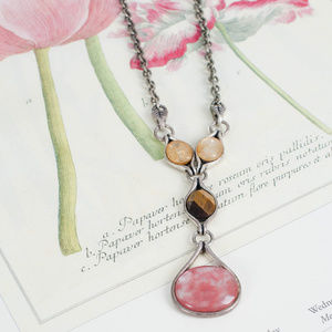 Lia Sophia Jewelry - Lia Sophia Brown, Pink Necklace Retired